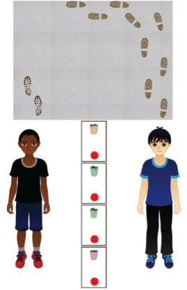 On this trial, a participating child had to decide the fairest way to hand out four penalties (emptying four yucky garbage cans).  One potential recipient (on the right) made more of a mess than the other, after the teacher had asked them both to keep the carpet clean.